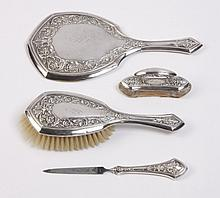 (4) Pc. sterling silver vanity set