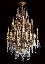 Early 20th c. crystal and bronze chandelier