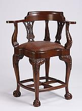 Late 20th c. mahogany corner chair