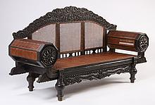 Oversized Anglo-Indian cane settee
