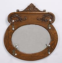 Oak hall tree mirror with porcelain hooks