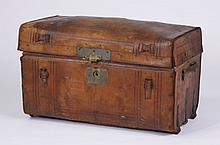 19th c. American leather trunk, marked