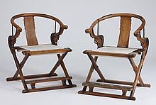 (2) Chinese horseshoe-back chairs