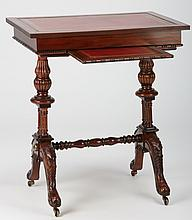 Petite mahogany leather top writing desk