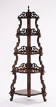 American carved wood corner etagere
