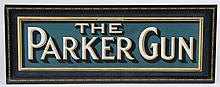 Original vintage Parker Gun trade sign