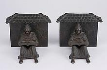 (2) Early 20th c. Austrian bronze bookends