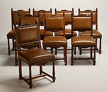 (8) 19th c. carved English walnut side chairs