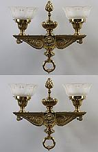 (2) Early 20th century 2-light wall sconces