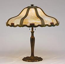 Bradley & Hubbard bronze slag glass lamp