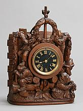 19th c. hand carved oak clock