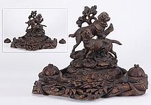 19th c. Black Forest carved inkwell