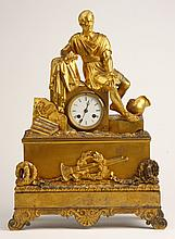 19th c. French dore' bronze figural clock