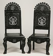 (2) 19th c. carved  Burmese side chairs