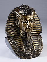 Lifesize 20th c. bronze bust of King Tut