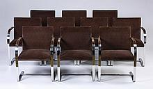 (10) Stainless steel armchairs by Brueton