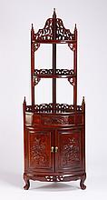 Chinese export carved corner cabinet