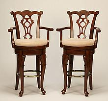 (2) Mahogany swivel bar stools