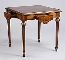 Late 20th c. marquetry inlaid game table