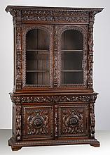 19th c. French carved oak cabinet