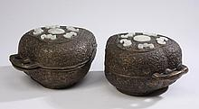 (2) Chinese bronze lidded containers
