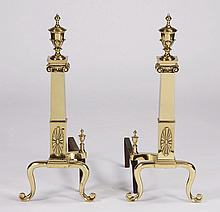 Pair of Neoclassical style brass andirons