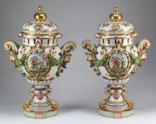(2) Capodimonte lidded urns, marked, 25