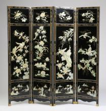 Lacquered Chinese screen, w/ appliques, 71