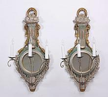 (2) French carved and painted wall sconces