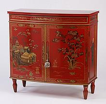 Chinoiserie style bow front cabinet