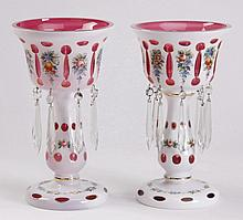 (2) Bohemian cased glass lustres
