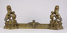 19th c. dore' bronze fireplace fender