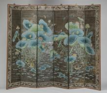 Painted screen w/ ducks and lotus plants