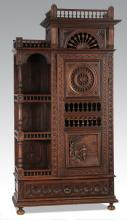 19th c. French Brittany carved oak cabinet, 90