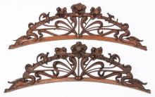 (2) 19th c. French Art Nouveau carved crests, 32