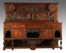 Italian carved walnut buffet w/candelabra, 98