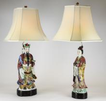 (2) Chinese porcelain figures on lamp bases