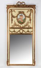 Gilt and paint decorated trumeau mirror, 79