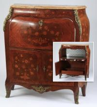 Marquetry inlaid marble top cabinet, 49