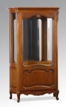 French Provincial style oak curio cabinet