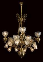 Early 20th c.20-light brass chandelier