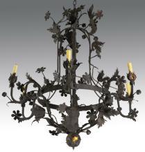 Continental tole peinte decorated chandelier, 19th c.