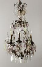 French bronze and crystal chandelier, 38
