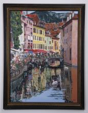 George Guzzi signed, O/c of French town, Annecy, 55