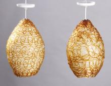 (2) 1960's spun acrylic pendant lamps