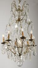 French bronze and crystal chandelier, 19th c.
