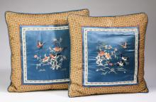 (2) Asian inspired silk pillows with embroidery
