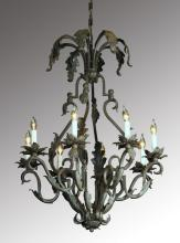 Wrought iron 8-light chandelier, 59
