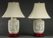 (2) Chinese blanc-de-chine porcelain lamps