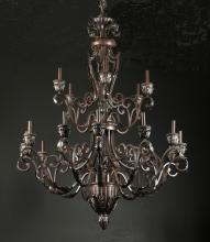 14-light patinated metal chandelier